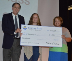 From left to right: Patrick Ballinger, President of Peoples Bank of Madison and Rockcastle Counties, scholarship winner, Danielle Adams, and Melinda Carter, Executive Secretary & Marketing.